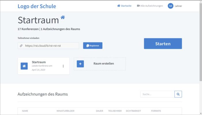 Startseite von BigBlueButton mit Raumansicht des Lehrers und Aufzeichnung